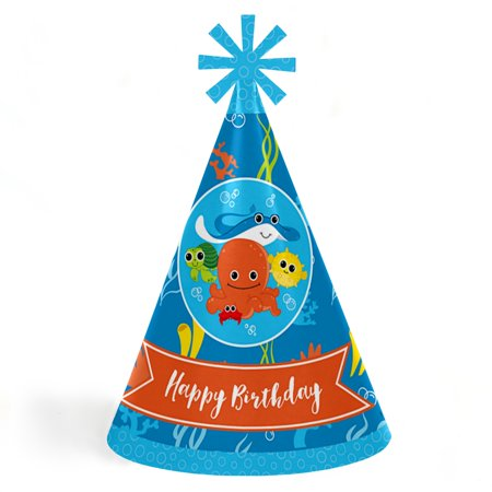 Under The Sea Critters - Cone Happy Birthday Party Hats for Kids and Adults - Set of 8 (Standard Size)