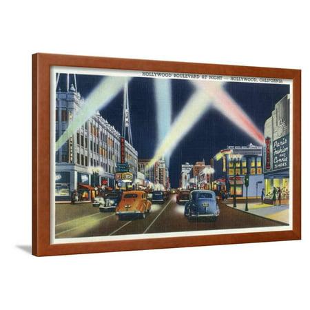 Hollywood, California - Hollywood Boulevard at Night Framed Print Wall Art By Lantern
