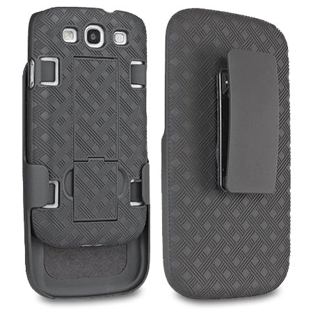 Samsung Galaxy S3 Case, SOGA [Holster Combo Series] Slim Hard Armor Case with Kickstand and Swivel Belt Clip Samsung Galaxy S3 - (Escort Solo S3 Best Price)
