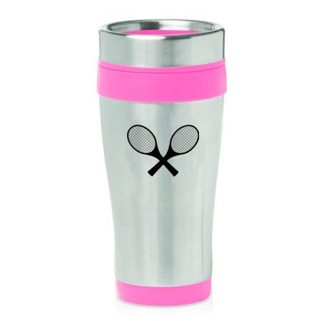 16oz Insulated Stainless Steel Travel Mug Tennis Racquets (Pink)
