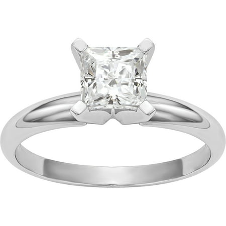 14kt 1.3 Carat 6.0mm Princess Moissanite Solitaire Ring