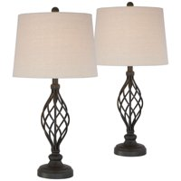 Franklin Iron Works Traditional Table Lamps Set of 2 Bronze Iron Scroll Tapered Cream Drum Shade for Living Room Family Bedroom