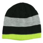 Nolan Boys Striped Beanie Hat Reversible Winter Hat Black / Lime Size 4-14