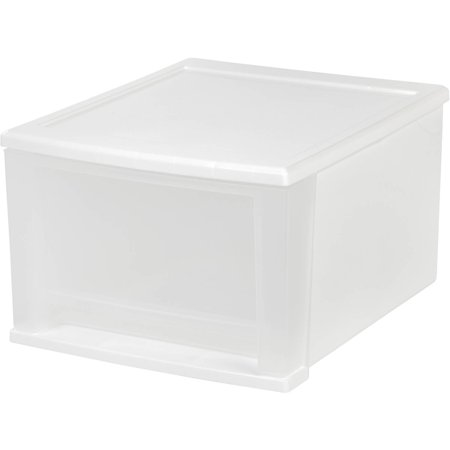 IRIS 17 Qt. Stackable Drawer, White