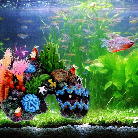 14cm Resin Sucker Mount Coral Reef Fish Tank Cave Decoration Aquarium Ornament Background Coral Reef Decorations