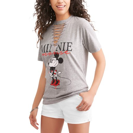 ca296c0426c9 Disney Minnie Mouse - Minnie Mouse Juniors' Vintage Character Pose with  Heart Lace Up V-Neck Graphic T-Shirt - Walmart.com