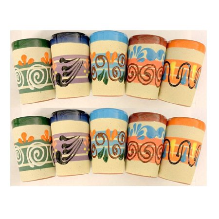 Made In Mexico Mexican Hand Painted Pottery Barro Clay Tequila Shots Glasses Set of 10 Assorted - Vaso (10 Best Tequila Brands)