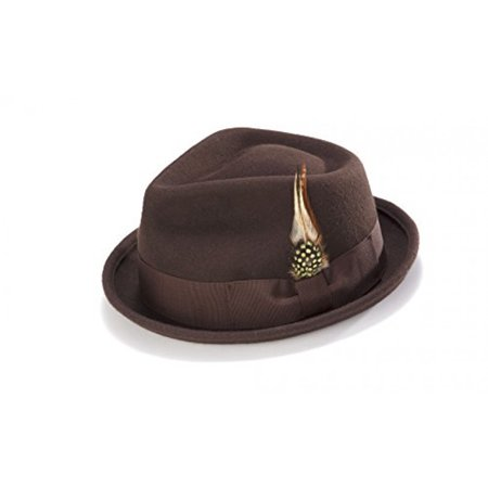 Bogart Stingy Brim Fine Wool Felt Hat With Feather By Montique H-54 (Small, Brown) (Felt Hat With Feather)