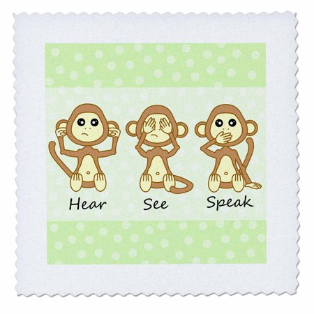 3dRose Hear No See No Speak No Evil - Cute Baby Monkeys - Quilt Square, 10 by 10-inch