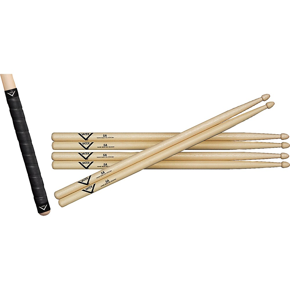 Vater Buy 3 Pairs of Hickory Sticks, Get a Free Pair of Sticks and Free Grip Tape 5BW by Vater