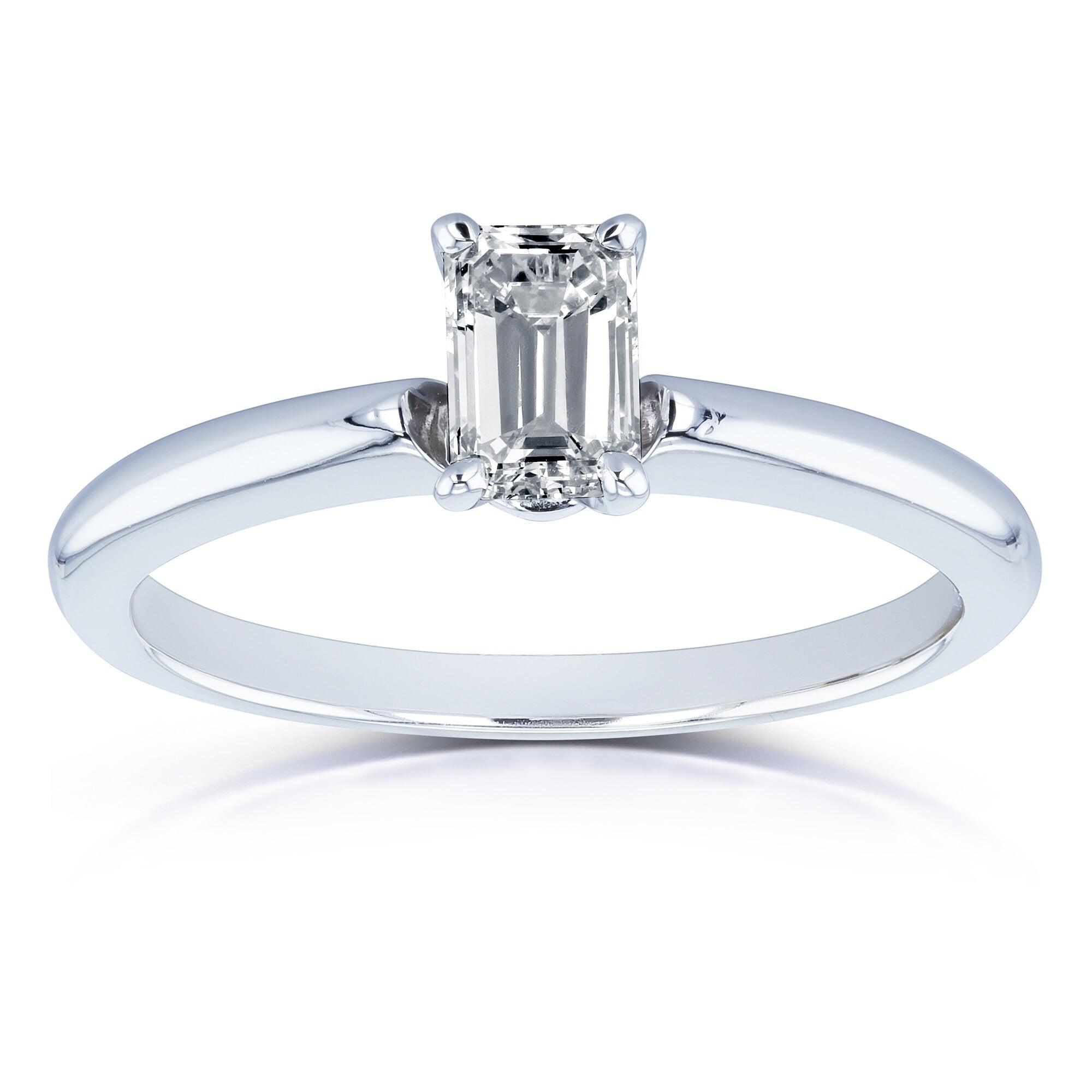 Annello 14k White Gold 1 2 Carat Diamond Solitaire Emerald Cut Engagement Ring Walmart Com Walmart Com
