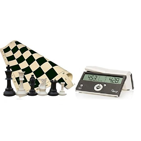"Tournament Chess Set - 34 Chess Pieces - Black Chess Board (20"" x 20"" Vinyl Rollup) - DGT Black Easy Chess Timer Game Clock ChessCentral"