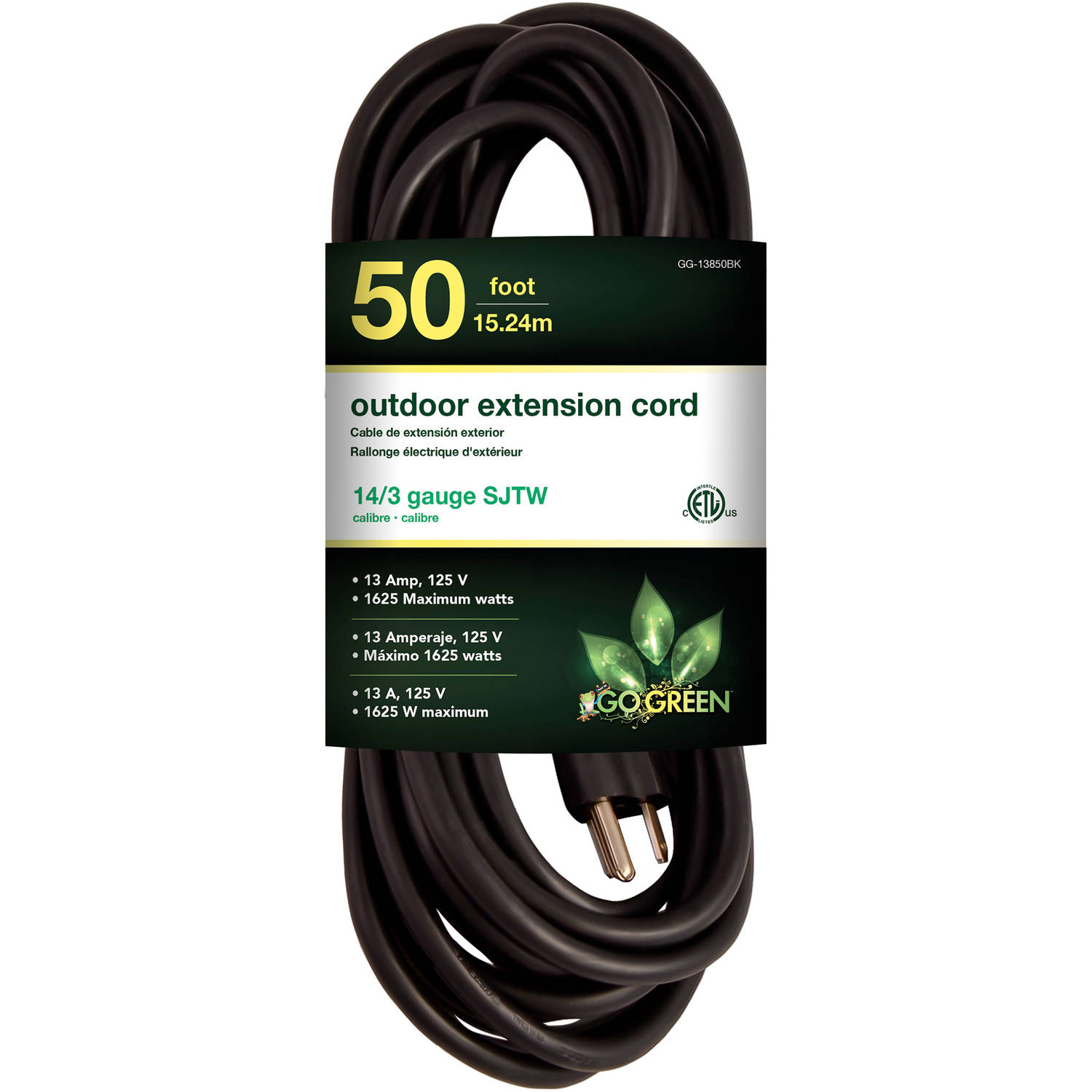 GoGreen Power 14/3 50' 13850BK Heavy-Duty Extension Cord, Black