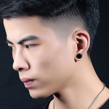 Men Stainless Steel Round Magnetic Clip On Ear Stud No Piercing