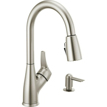 Peerless P7901LF-SD-W 1.5 GPM Single Hole Pull Down Kitchen Faucet - - Brilliance Stainless