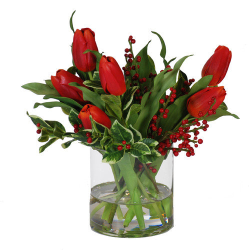 Jane Seymour Botanicals 15 in. Tulips and Holly with Glass Cylinder Silk Flower Arrangement