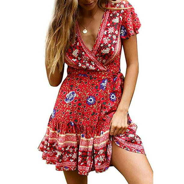 Women Summer 3D Floral Print Vintage Boho Bohemian Dresses Sundress Beach Dress