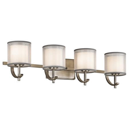 Antique Pewter 4 Light - Bathroom Vanity 4 Light With Antique Pewter Finish Steel Candelabra 29 inch 240 Watts