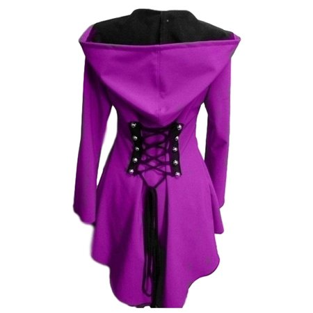 Women'S Fashion Hooded Parka Autumn Women Winter Coat Women Sexy Medieval Style Back Lace Up Blue Outfits Warm Hooded Long Sleeve Renaissance Coat Outwear