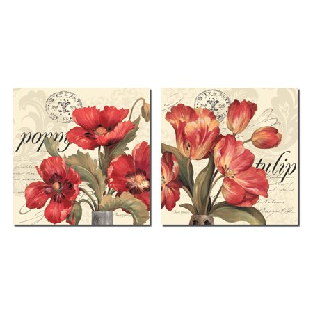 Red & White I Vintage French Postcard and Red Flowers; Floral Decor; Two 12x12 Poster Prints