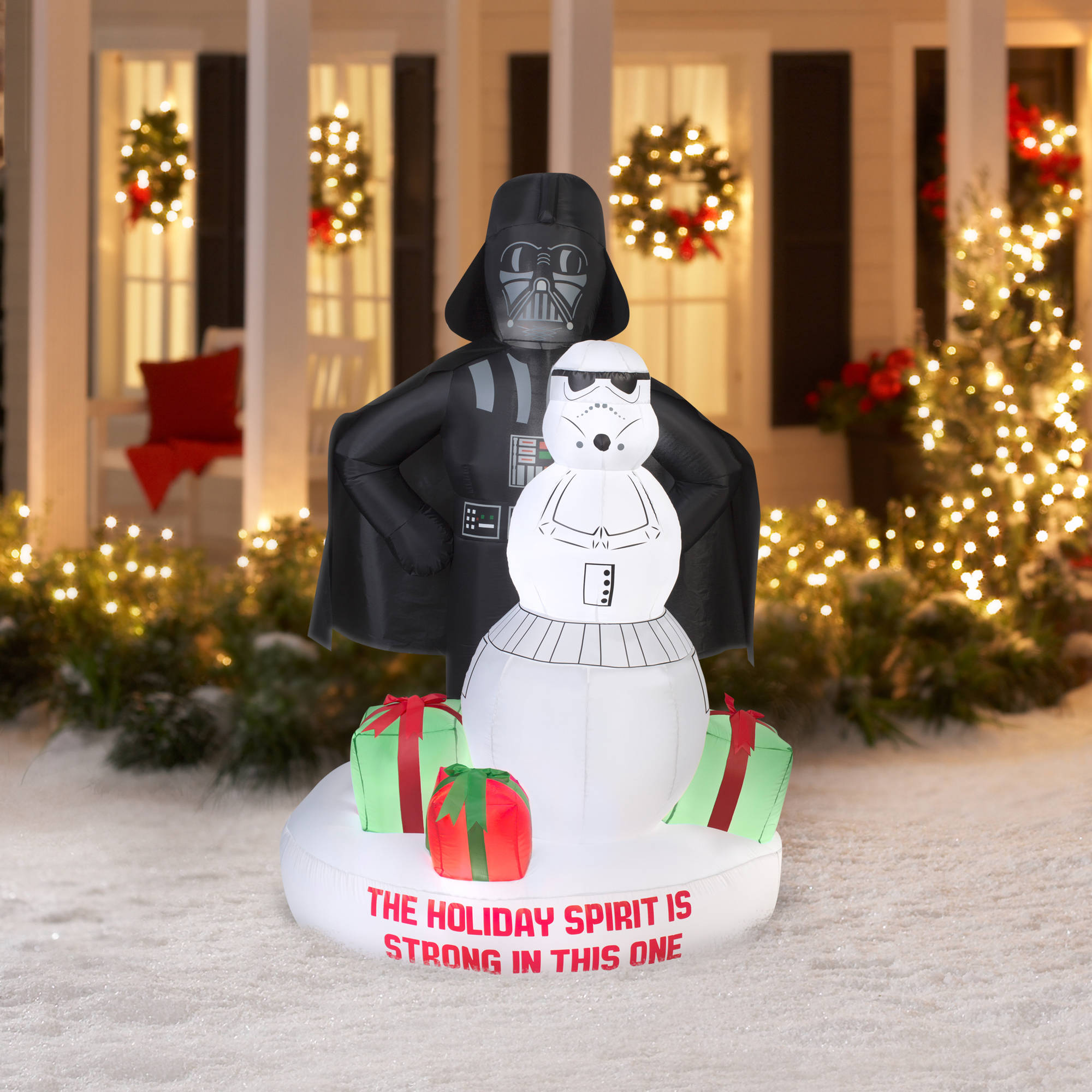 gemmy airblown christmas inflatables 6 darth vader and storm trooper snowman scene walmartcom