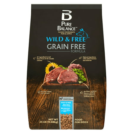 Pure Balance Wild & Free Grain-Free Bison, Pea & Venison Recipe Dry Dog Food, 24