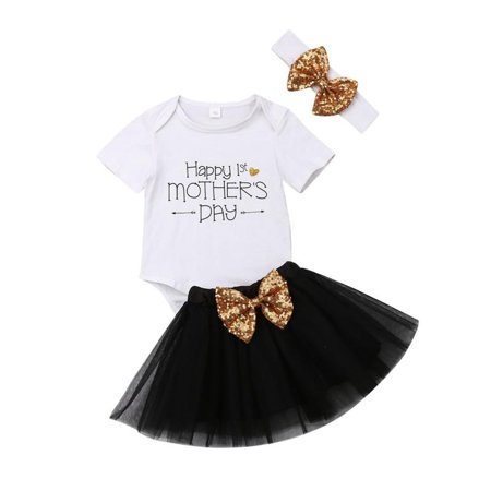 1st Mother's Day Newborn Baby Girl Outfits Romper TuTu Skirts Clothes 3Pc Set - M&m Outfit