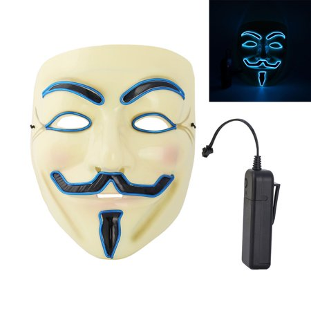 Rolling Lit LED Light Up Glowing Creepy Man Vendetta Mask for $<!---->