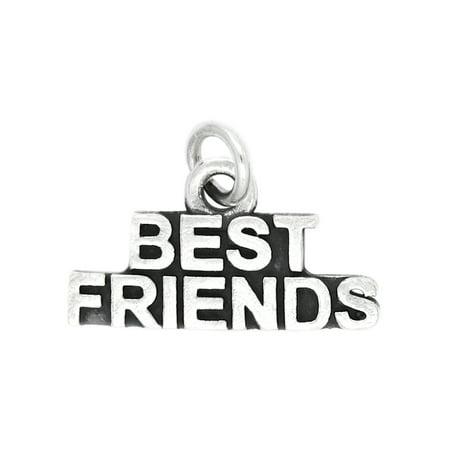 Sterling Silver Oxidized Word Best Friends Charm