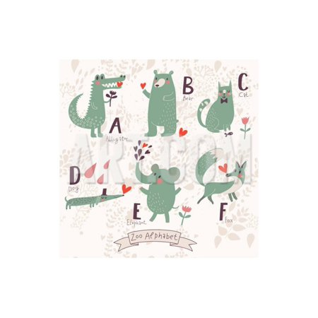 Cute Zoo Alphabet in Vector. A, B, C, D, E, F Letters. Funny Animals in Love. Alligator, Bear, Cat, Print Wall Art By smilewithjul