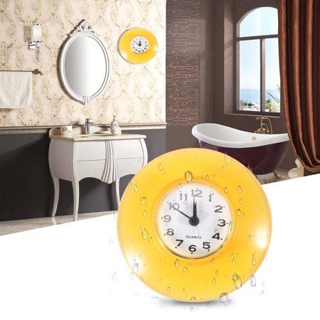 Mini Cute Bathroom Kitchen Mirror Suction Wall Clock Shower