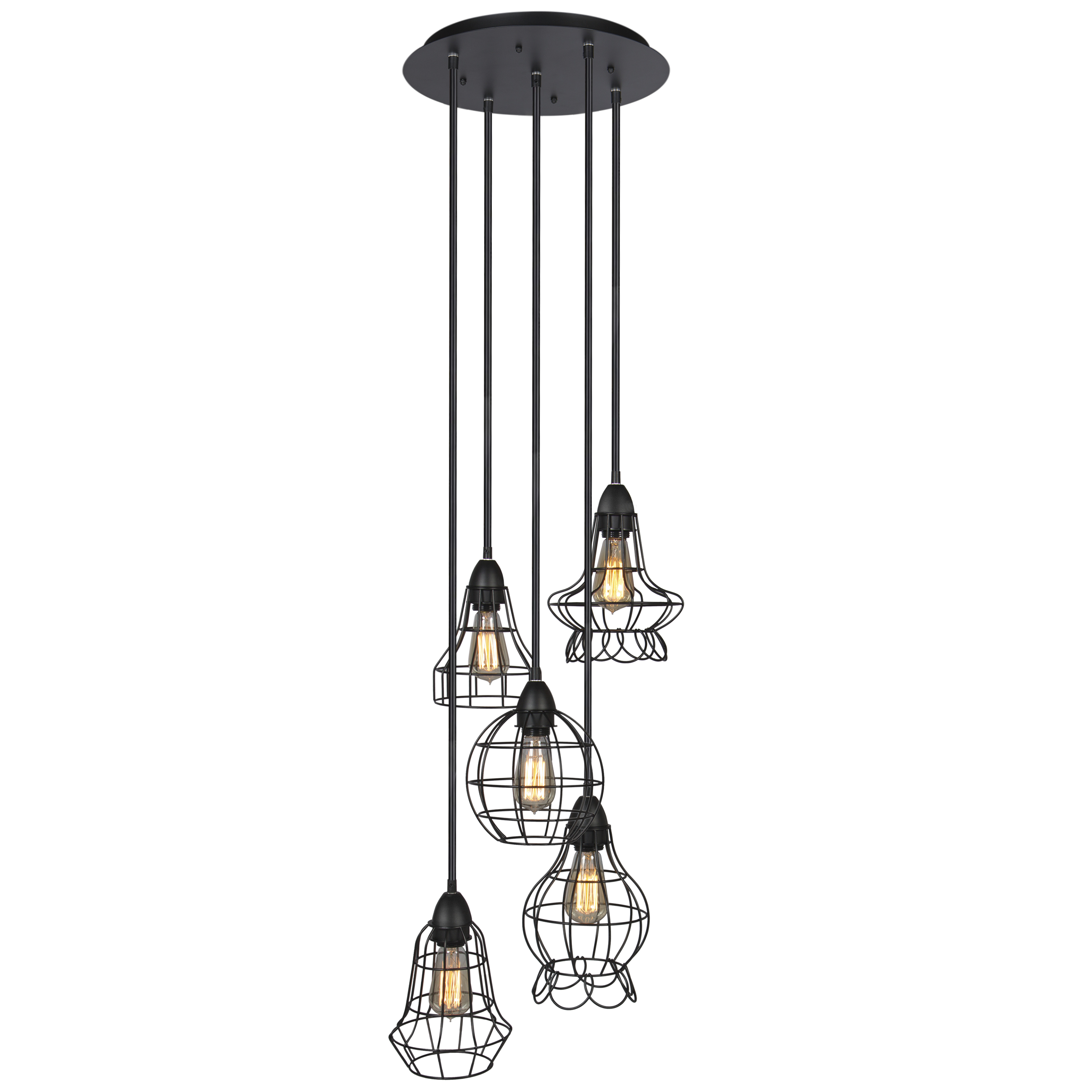Best Choice Products 5 Light Steel Hanging Pendant Cage Lighting Fixture W Adjule Cord Lengths Black