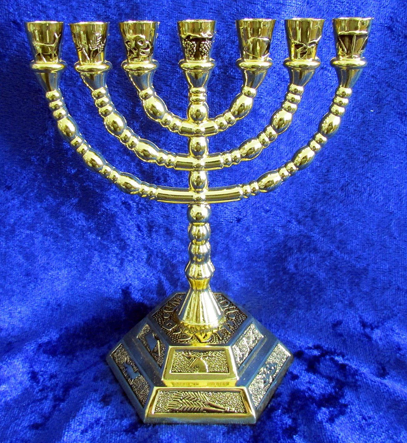"12 Tribes of Israel Jerusalem Temple Menorah choose from 3 Sizes Gold or Silver (Gold, 5"" Inches)"