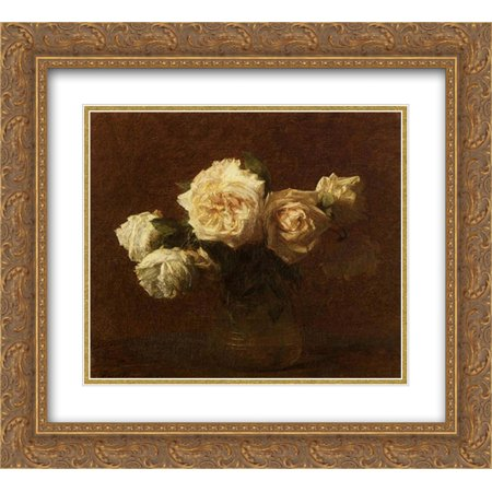 Golden Yellow Glass - Henri Fantin Latour 2x Matted 22x20 Gold Ornate Framed Art Print 'Yellow Pink Roses in a Glass Vase'