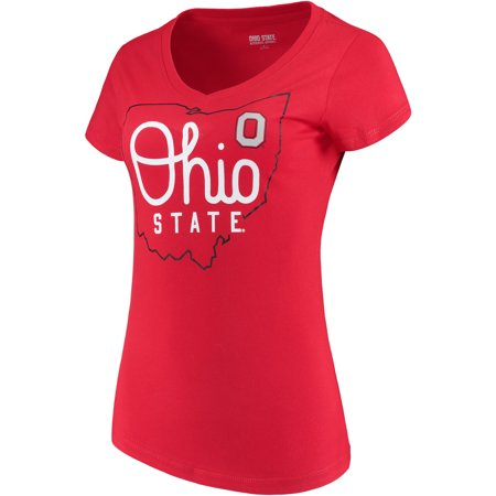 Women's Scarlet Ohio State Buckeyes State V-Neck T-Shirt - Ohio State Beverage