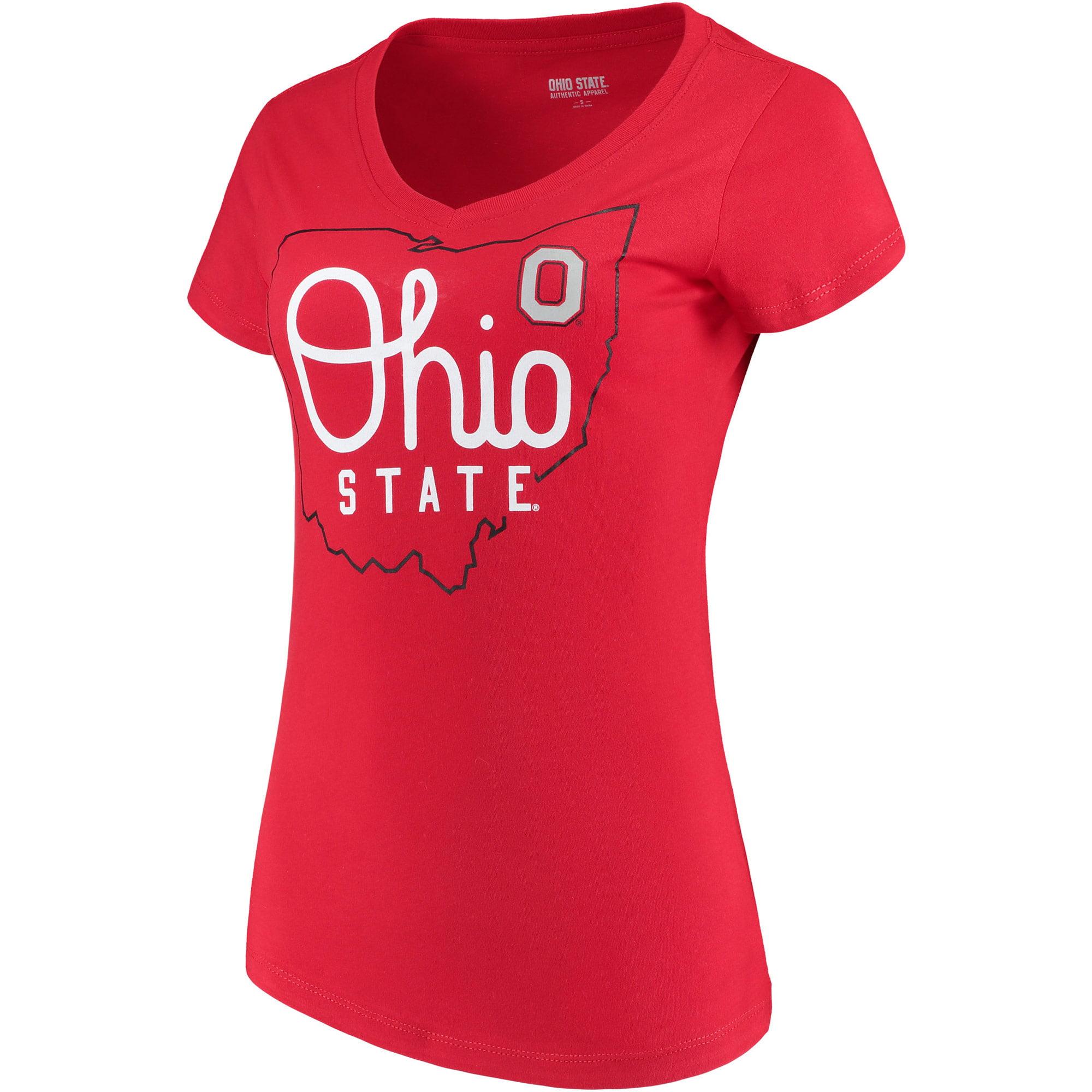 Women's Scarlet Ohio State Buckeyes State V-Neck T-Shirt