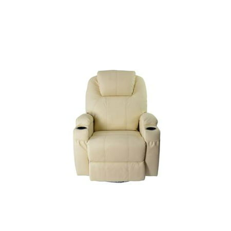 MCombo Massage Recliner Vibrating Sofa Heated Electric Leather Lounge Chair 8031 Creme White ()