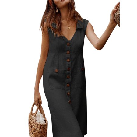 Boho Summer Maxi Dress For Women Plus Size Holiday Beach Bardot Button Through Ladies Sling Long Smock Sun Dress Ladies Boho Sleeveless V-neck Midi Sundress Black - Halloween Smocked Dresses