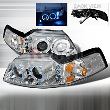 Spec-D Tuning Ford Mustang 1999 2000 2001 2002 2003 2004 LED Halo Projector Headlights - Chrome