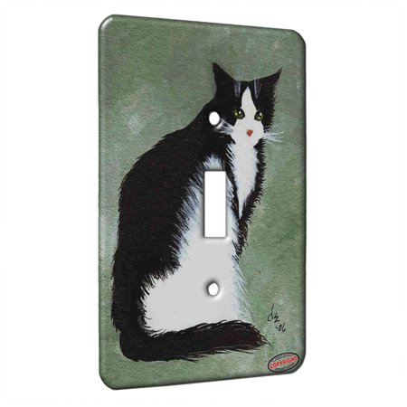 KuzmarK™ Single Gang Toggle Switch Wall Plate - Tuxedo Maine Coon Cat on Sage Green Cat Art by Denise Every