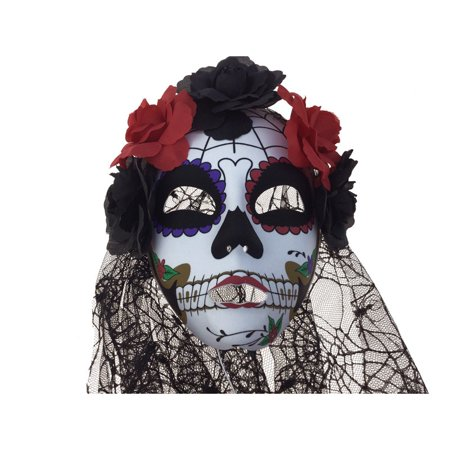 Day Of Dead Halloween Mask (Kbw Women's Day of the Dead Flowers & Veil Full)