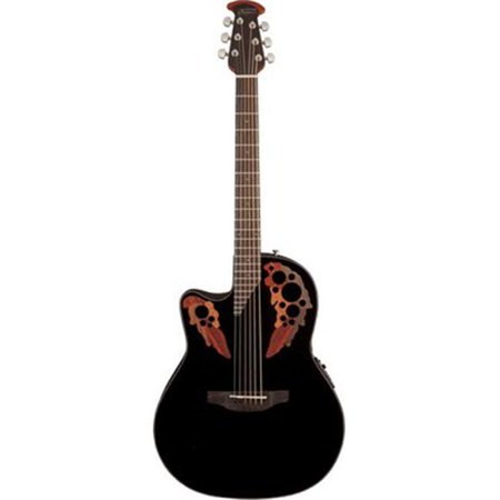 Ovation CE44L-5 Celebrity Elite, Lefty, Black Mid (Ovation Celebrity Cc28 Acoustic Electric Guitar Black)