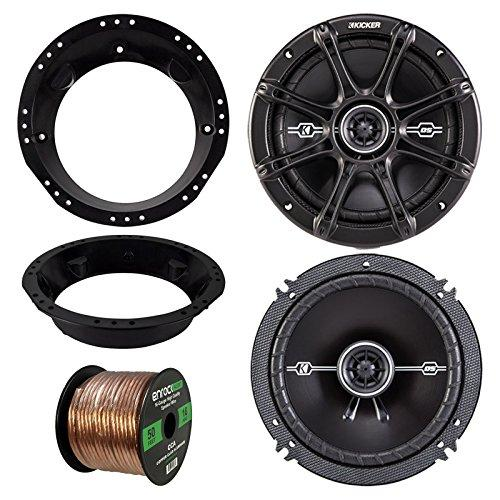 98-13 harley speaker bundle: 2x of kicker 43dsc6504 6.5 inch 480 watts 2-way ds-series black car stereo coaxial speakers + speaker mounting rings for motorcycles + enrock 50 ft 16g speaker wire