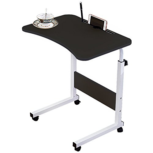 DL furniture - Adjustable Desk Body Curve Edge Design With Phone Slot Laptop Desk Movable Table Lapdesk With 4 Wheels Flexible Wooden Stand Desk Cart Tray Side Table for Bed - Black