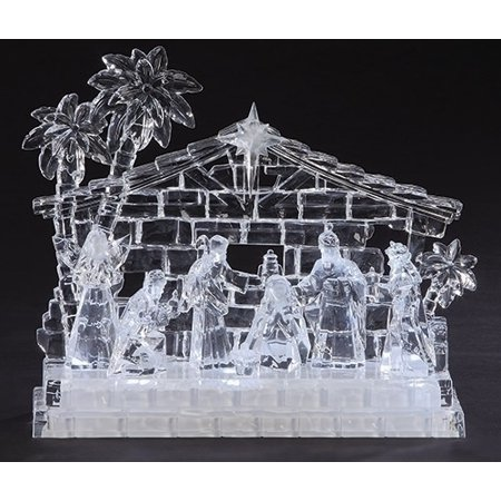 Led Light Up Clear Acrylic Christmas Nativity Set