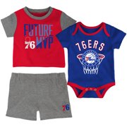 Philadelphia 76ers Infant Putting Up Numbers Bodysuit, T-Shirt & Shorts Set - Red/Royal