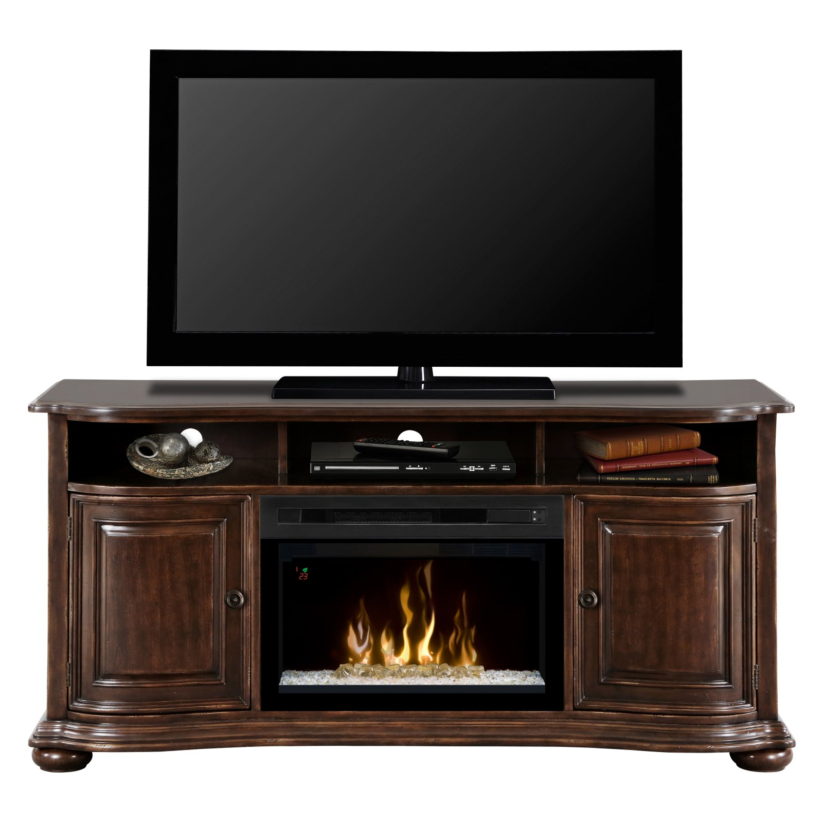 "Dimplex Henderson Media Console Electric Fireplace With Acrylic Ember Bed for TVs up to 65"", Deep Cherry"