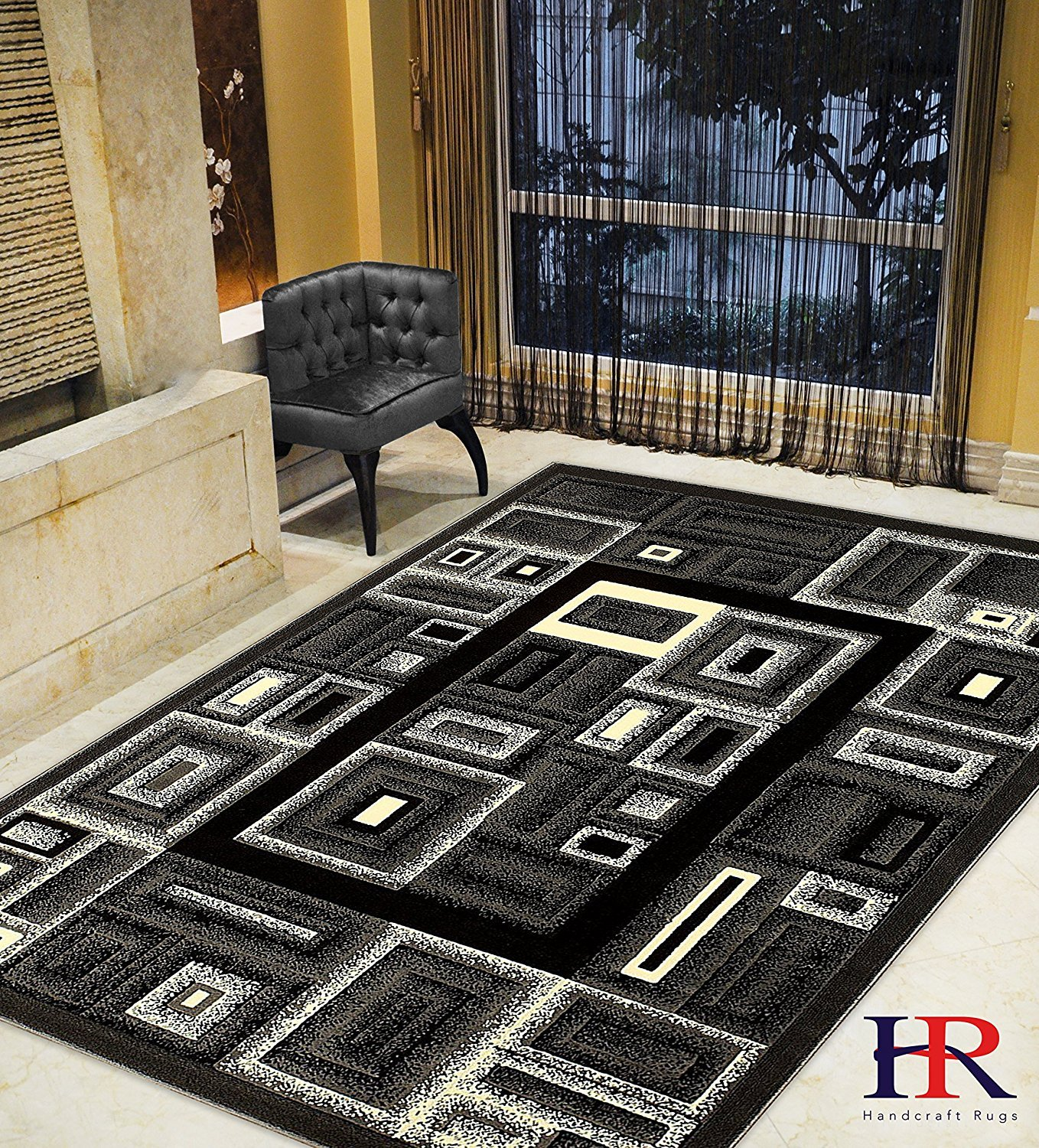 Modern Contemporary Abstract Rug- Frame/Boxy/Cube Pattern-Shed Free Gray/Ivory/White/Black