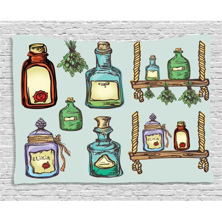 Apothecary Tapestry, Retro Alchemy Magic Craft Elixir Herbal Cure Chemists Halloween Recreation Theme, Wall Hanging for Bedroom Living Room Dorm Decor, 60W X 40L Inches, Multicolor, by - Halloween Art And Crafts For Infants