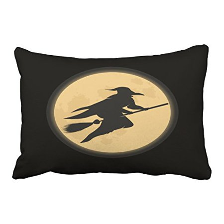 WinHome Abstract Vintage Fashion Happy Halloween Old Witch Silhouette Black Polyester 20 x 30 Inch Rectangle Throw Pillow Covers With Hidden Zipper Home Sofa Cushion Decorative Pillowcases